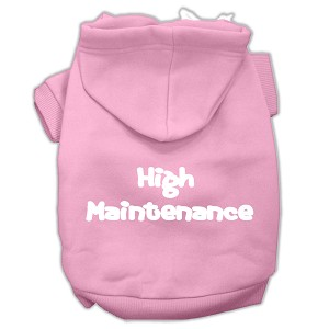 High Maintenance Screen Print Pet Hoodies Light Pink L (14)